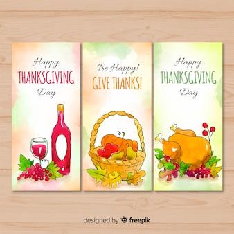 Mooie aquarel thanksgiving kaartcollectie