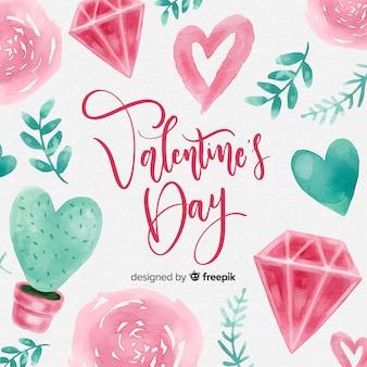 Mooie aquarel valentijnsdag achtergrond