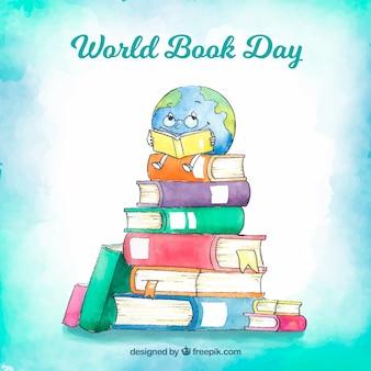 Mooie aquarel wereld boek dag achtergrond