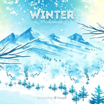Mooie aquarel winter achtergrond