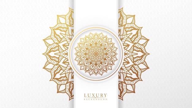 Mooie arabische gouden mandala witte achtergrond met patroon islamitische stijl