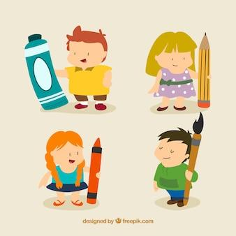 Mooie artistieke kinderen in cartoon-stijl