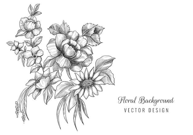 Mooie artistieke schets bloemen