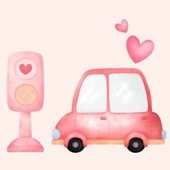 Mooie auto en liefdesstoplicht met liefde en valentijnsdag.