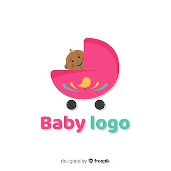 Mooie baby logo sjabloon met platte ontwerp