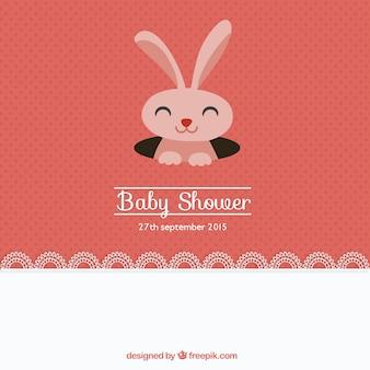 Mooie baby shower kaart met een konijn