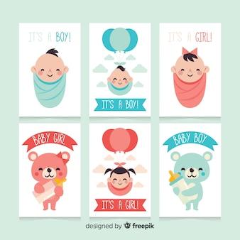 Mooie baby shower kaartcollectie met plat ontwerp