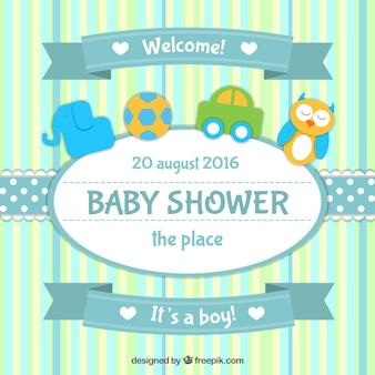 Mooie baby shower uitnodiging met speelgoed