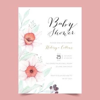 Mooie baby showeruitnodiging met narcissenbloemen