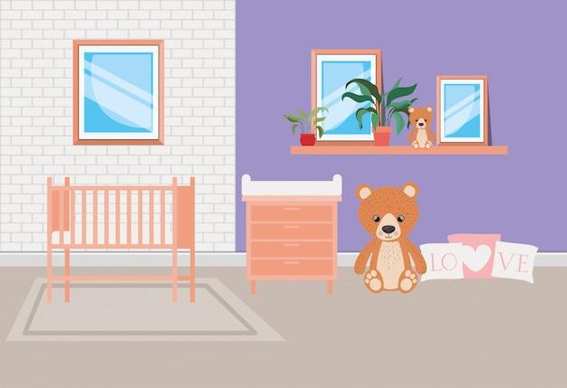Mooie babybed kamer scène
