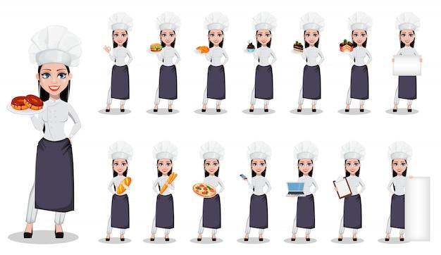 Mooie bakkersvrouw in professioneel uniform