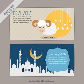Mooie banners met lamsvlees en witte moskee