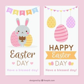 Mooie banners met schattige konijntje en eieren voor pasen dag