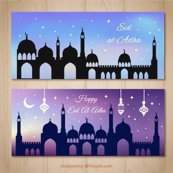 Mooie banners met sterrenhemel