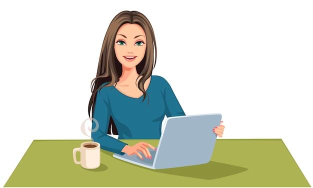 Mooie bedrijfsvrouw die aan laptop illustratie werken