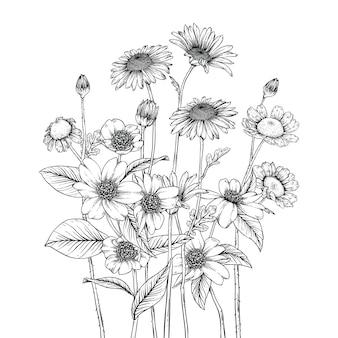 Mooie blad- en bloemtekeningen