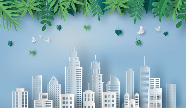 Mooie bladeren en groene stad.