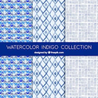 Mooie blauwe aquarel patronen van abstracte vormen