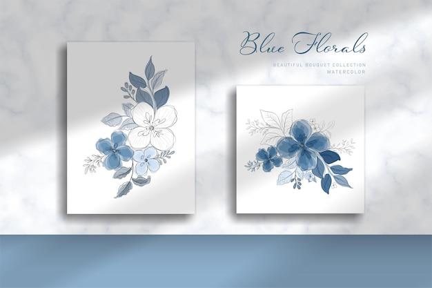 Mooie blauwe boeketillustratie met waterverfstijl
