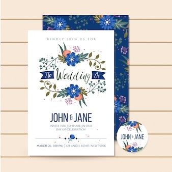 Mooie blauwe luxe bruiloft uitnodiging bloemen illustratie