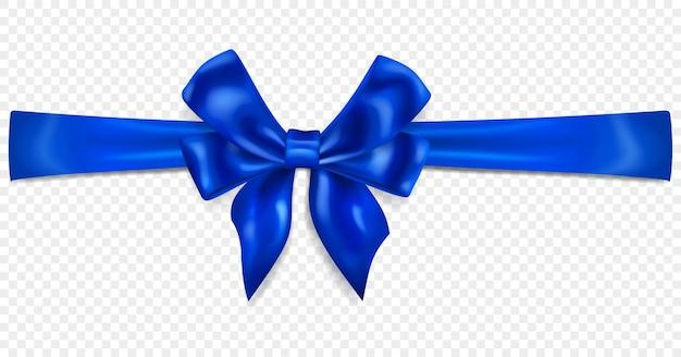 Mooie blauwe strik met horizontaal lint met schaduw, geïsoleerd op transparante achtergrond. transparantie alleen in vectorformaat