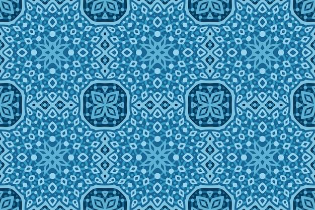 Mooie blauwe webachtergrond met abstracte geometrische naadloze patroon