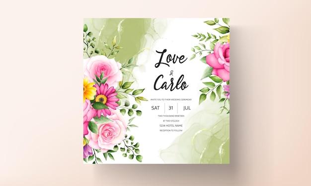 Mooie bloeiende bloem aquarel bruiloft uitnodigingskaart