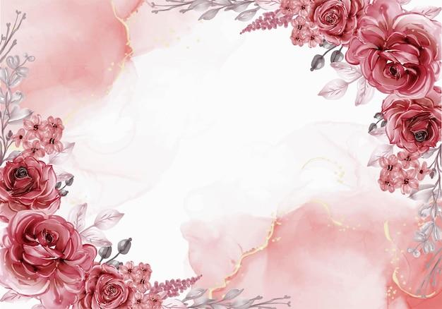 Mooie bloeiende bloem laat rode kastanjebruine achtergrond