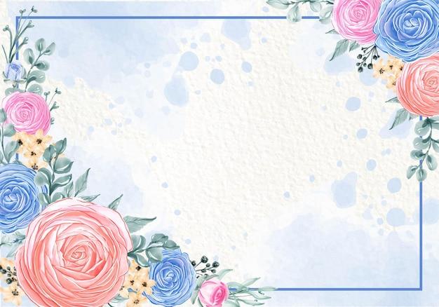 Mooie bloeiende bloem verlaat blauw