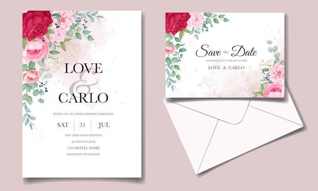 Mooie bloeiende bloemen bruiloft uitnodiging kaartenset