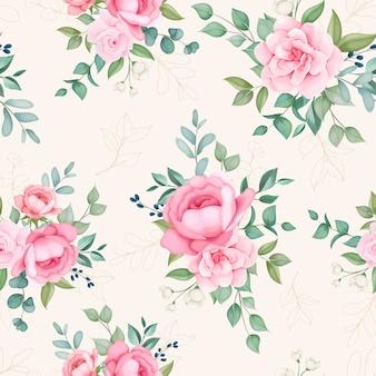 Mooie bloeiende bloemen en bladeren naadloos patroon