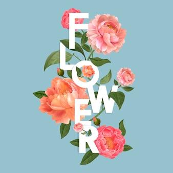 Mooie bloeiende bloemen ontwerp vector