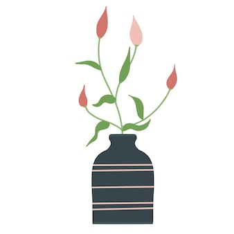 Mooie bloeiende compositie met bladeren en stengel geïsoleerd op wit. bloeiende planten en kruiden. prachtig boeket bloemen met decoratieve takken in vaas platte vectorillustratie.