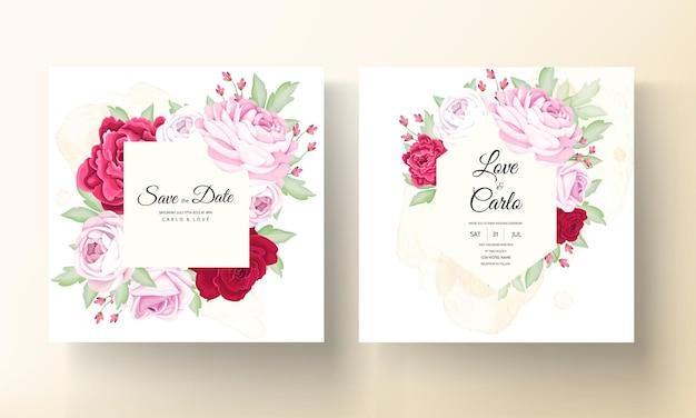Mooie bloeiende roos en pioenbloem bruiloft uitnodigingskaart