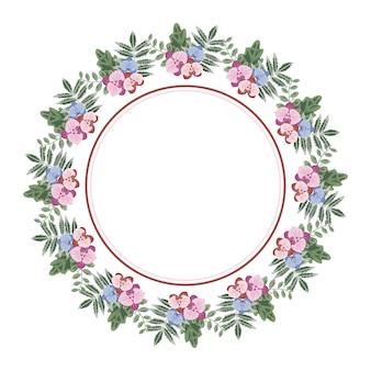 Mooie bloem bloemen krans cirkelframe
