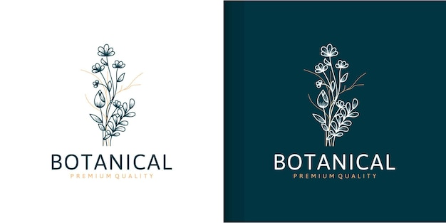 Mooie bloem bloemen logo collectie in minimalistische stijl