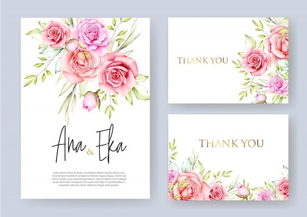 Mooie bloem bruiloft kaartsjabloon