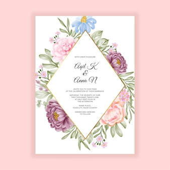 Mooie bloem bruiloft uitnodiging kaartsjabloon