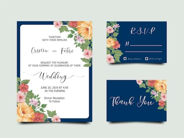 Mooie bloem bruiloft uitnodigingskaart