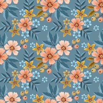 Mooie bloem en blad ontwerp naadloos patroon.