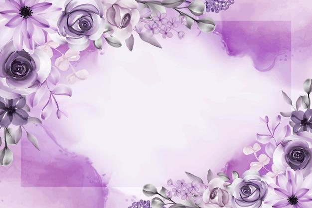 Mooie bloem en bladeren paarse achtergrond
