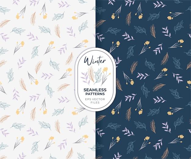 Mooie bloem en bladeren winter met blauwe en witte achtergrond naadloze patronen