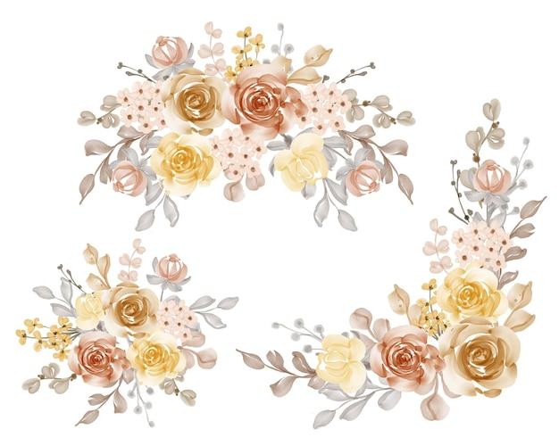 Mooie bloem oranje gele arrangement set