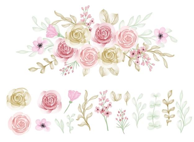 Mooie bloem roze violet aquarel geïsoleerde illustraties