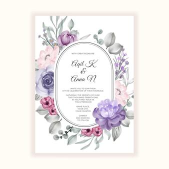 Mooie bloem roze violet frame voor huwelijksuitnodiging