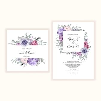 Mooie bloem sjabloon huwelijksuitnodiging