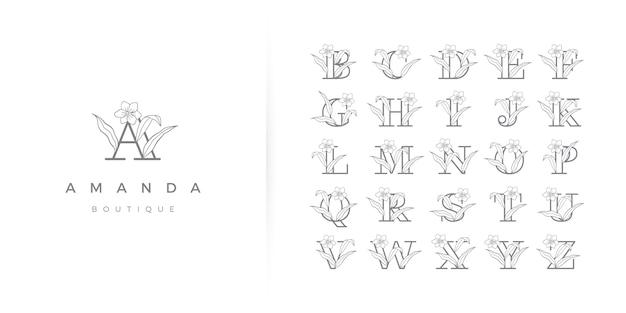 Mooie bloemen alfabet logo