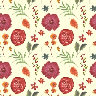 Mooie bloemen aquarel herfst naadloze patroon