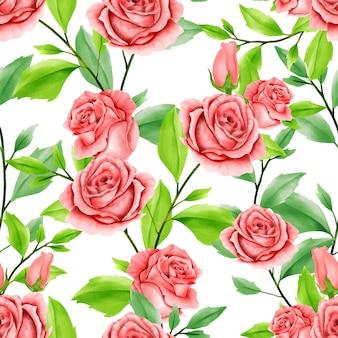 Mooie bloemen aquarel verlaat naadloze patroon rode roos
