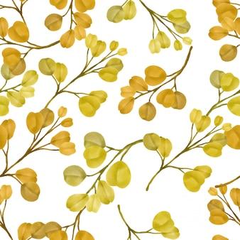 Mooie bloemen bladpatronen aquarel gele bladeren
